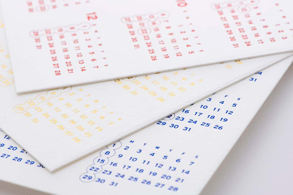 箔押しカレンダー