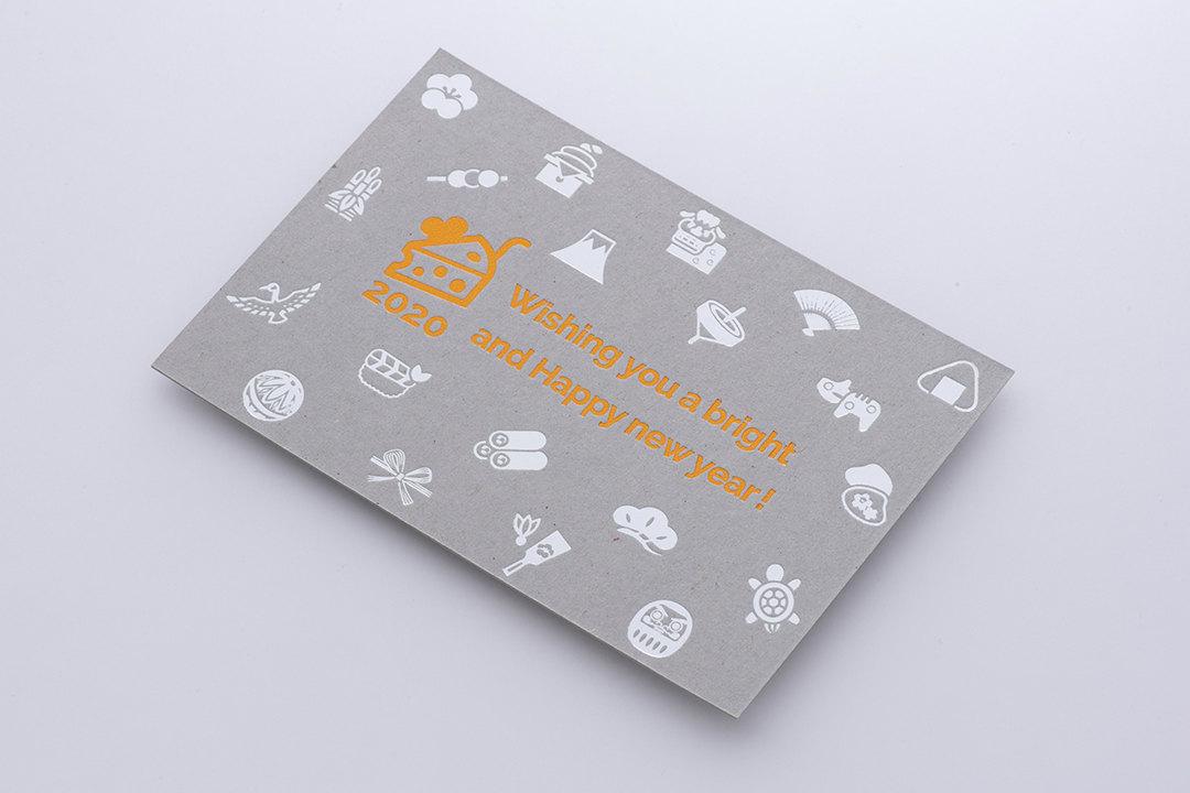 紙:チップボール<br>箔:サンセットオレンジ箔・つや消し銀箔