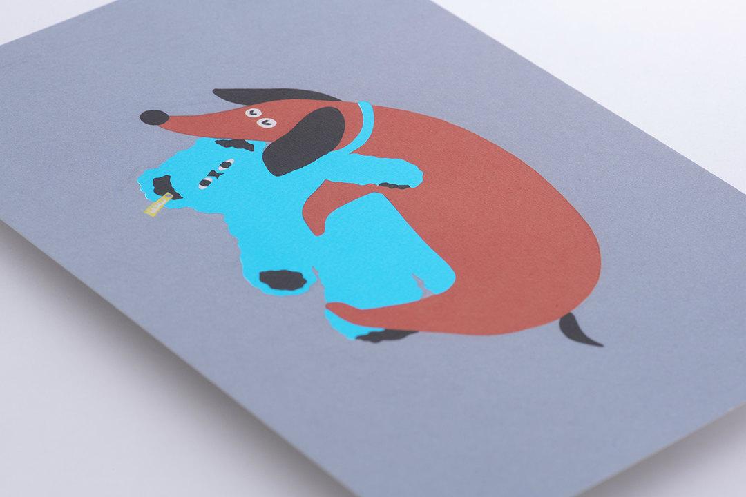 紙:上質紙<br>箔:スカイブルー箔・メタリック赤箔・チャコールグレー箔