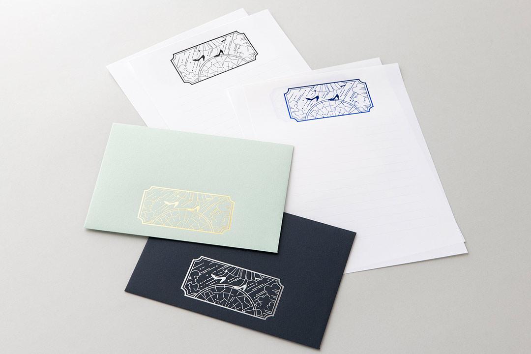 封筒の色:ミッドナイトブルー封筒・ミント封筒<br>箔:メタリック青箔・メタリック黒箔・メタリック銀箔・メタリック金箔3号金