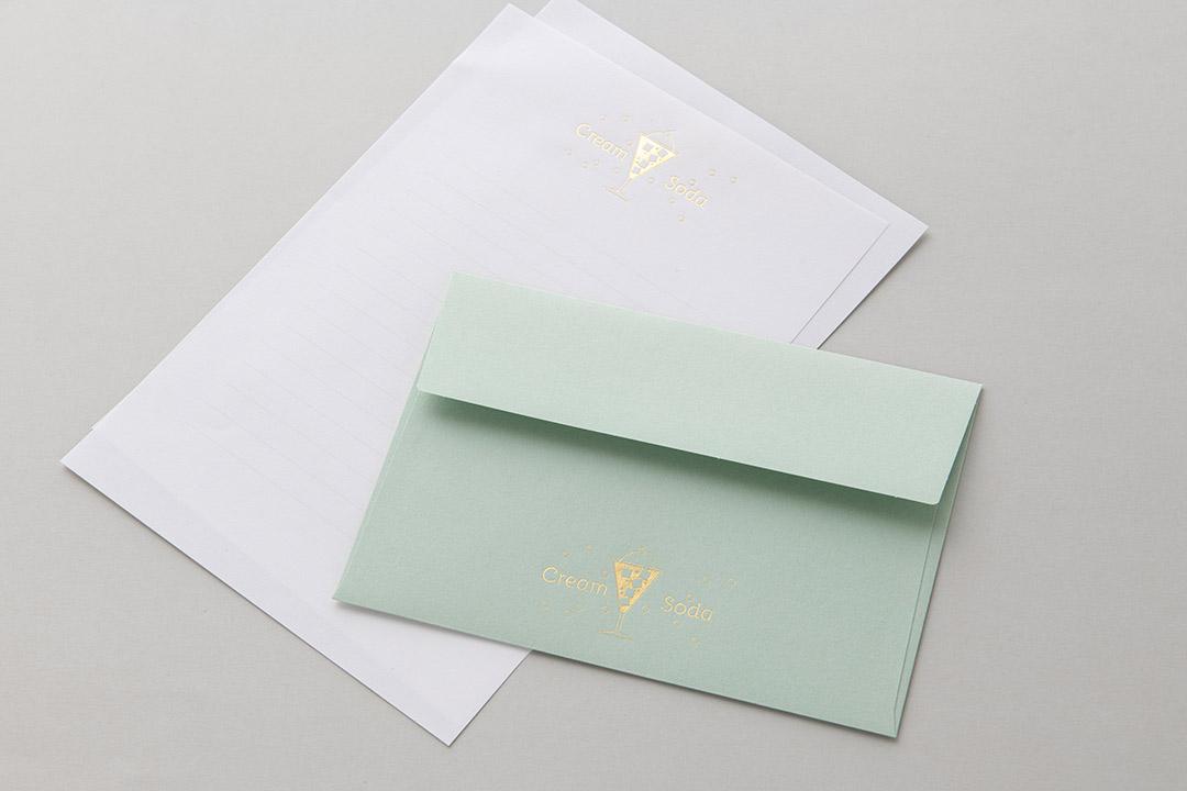 封筒の色:ミント封筒<br>箔:メタリック金箔3号金