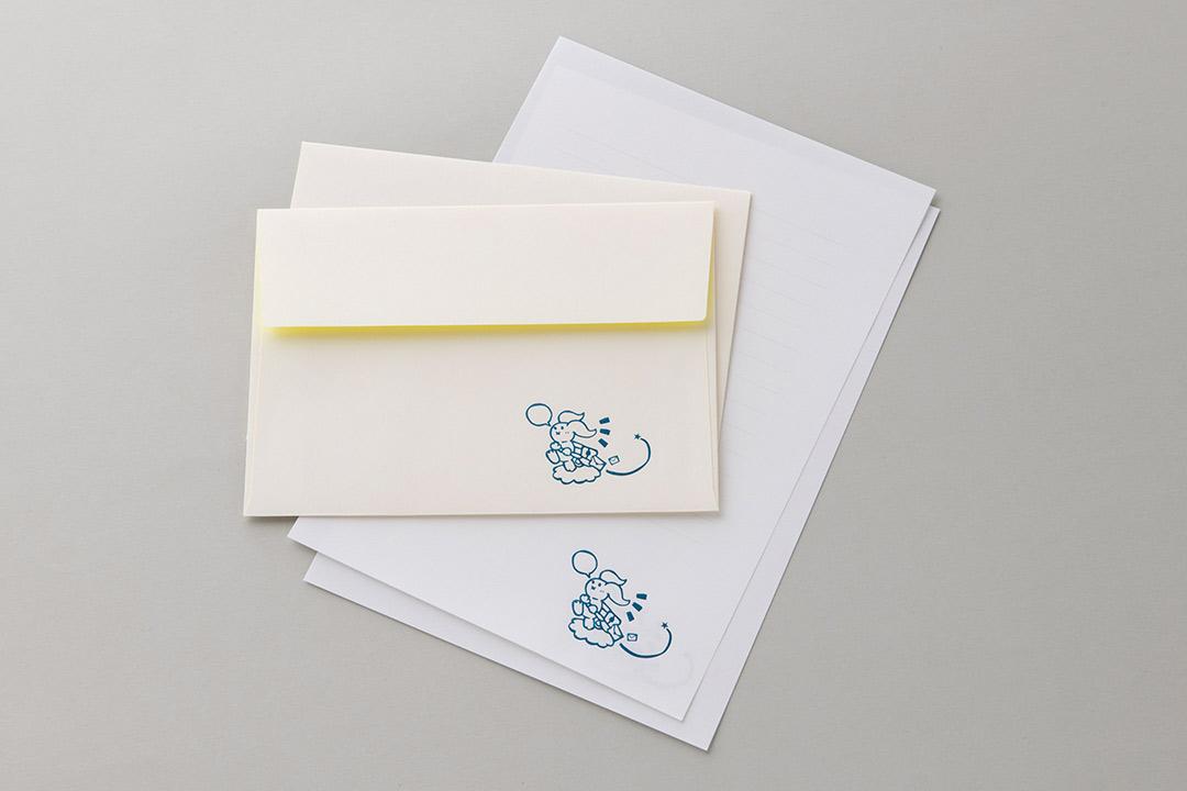 封筒の色:ネオンイエローinホワイト封筒<br>箔:シルキーコバルト箔