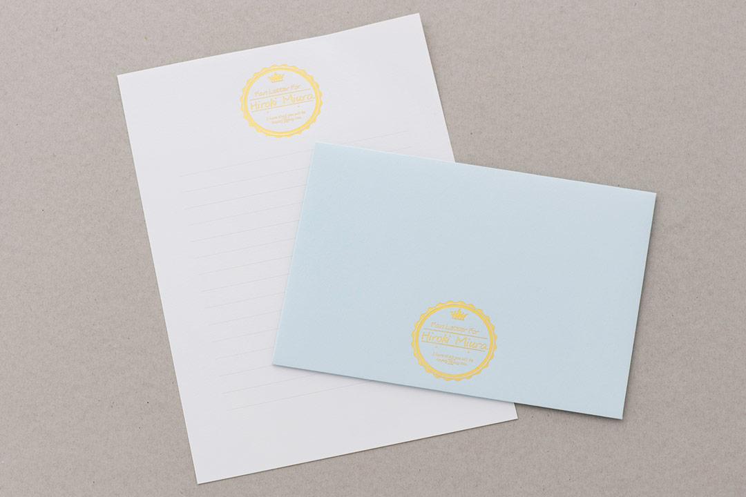 封筒の色:ベビーブルー<br>箔:つや消し金箔111