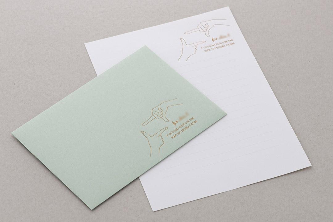 封筒の色:ミント<br>箔:ブラウン箔