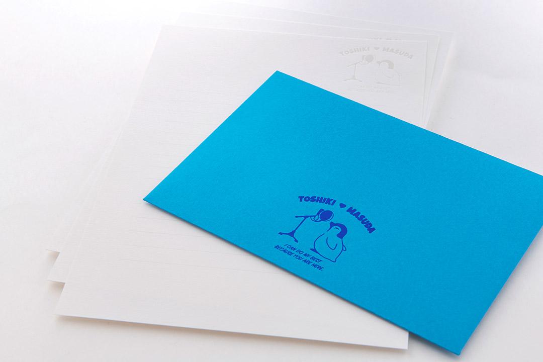 封筒の色:水色<br>箔:顔料青箔・パール箔